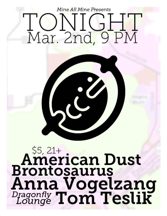 3-2-2013 - Brontosaurus, Tom Teslik, Anna Vogelzang, American Dust